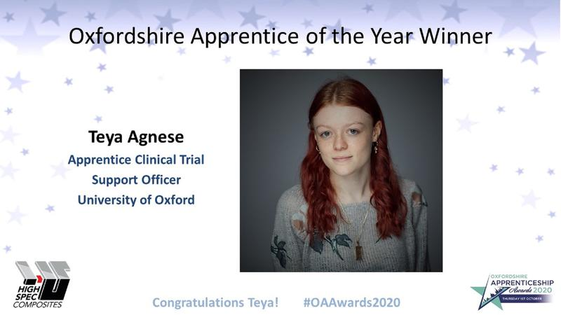 Teya Agnese, apprentice business administrator wins 2 Oxfordshire Apprenticeship awards